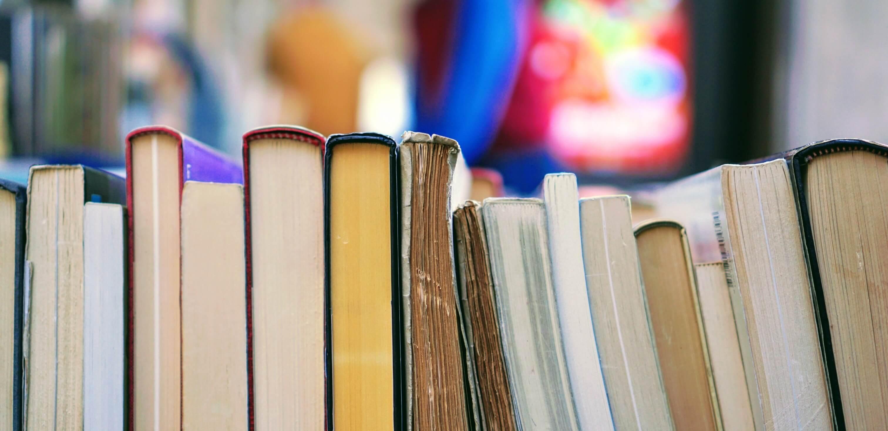 Fotografia de alguns livros com alusões históricas para redação enfileirados.