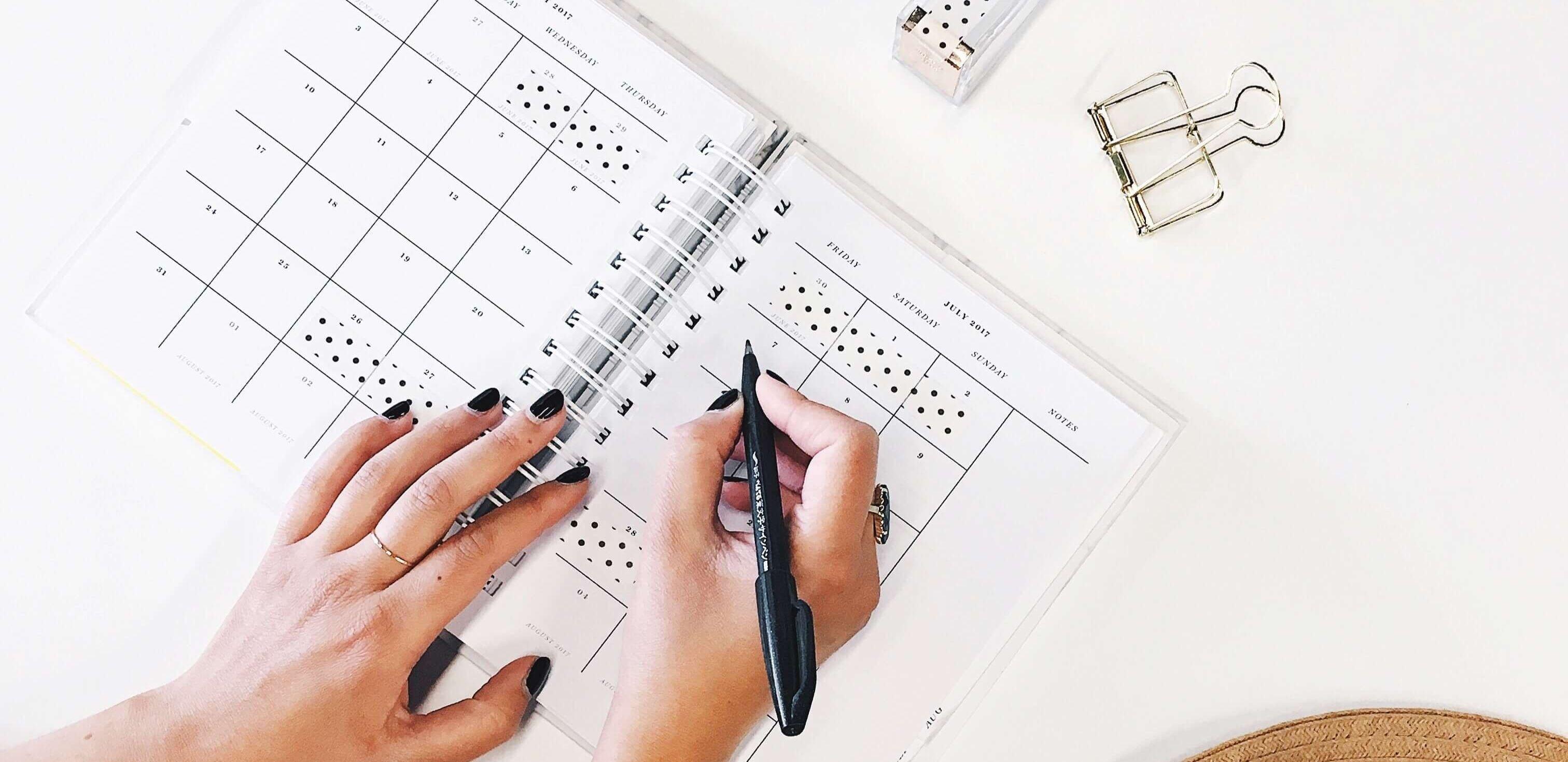 metas de ano novo: alguém escrevendo em uma agenda
